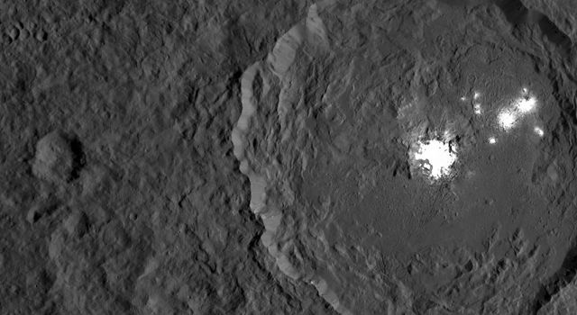 This image from NASA's Dawn spacecraft shows Occator Crater on Ceres with its signature bright areas.