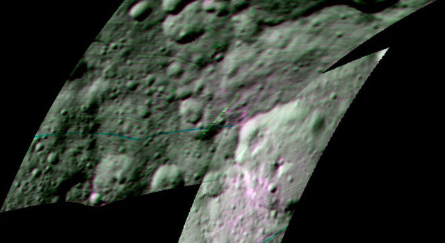 This enhanced color composite image from Dawn's visible and infrared mapping spectrometer.
