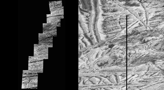 Mosaic of images includes the most detailed view of the surface of Jupiter's moon Europa