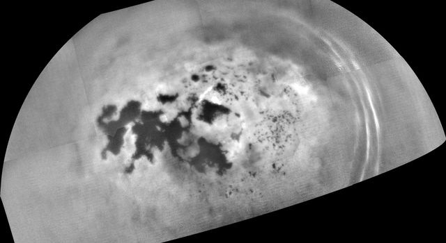 Cassini captured this mosaic of images showing the northern lakes and seas of Saturn's moon Titan.