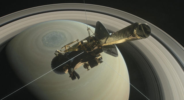 This illustration shows Cassini above Saturn's northern hemisphere prior to one of its 22 Grand Finale dives.
