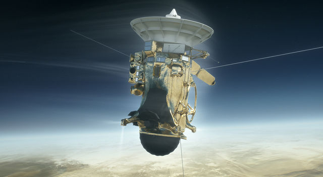 NASA's Cassini spacecraft is shown during its Sept. 15, 2017