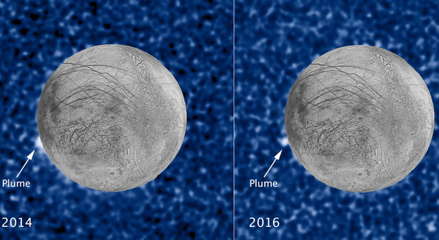These composite images show a suspected plume on Europa