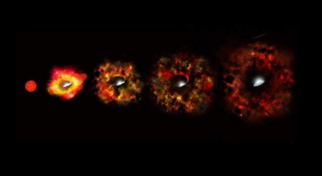 This illustration shows the final stages in the life of a supermassive star that fails to explode as a supernova.