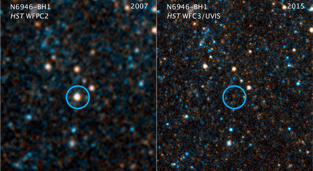 This pair of visible-light and near-infrared photos from NASA's Hubble Space Telescope.