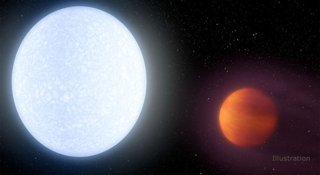 This artist's concept shows planet KELT-9b orbiting its host star, KELT-9