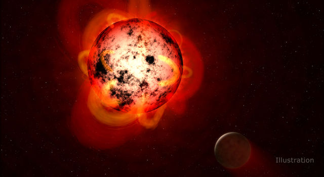This illustration shows a red dwarf star orbited by a hypothetical exoplanet.