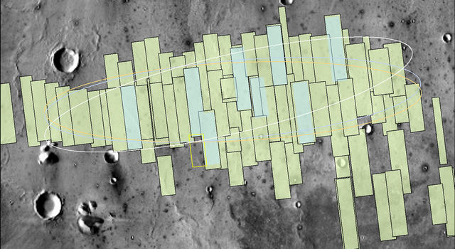 This map shows the footprints of images of Mars