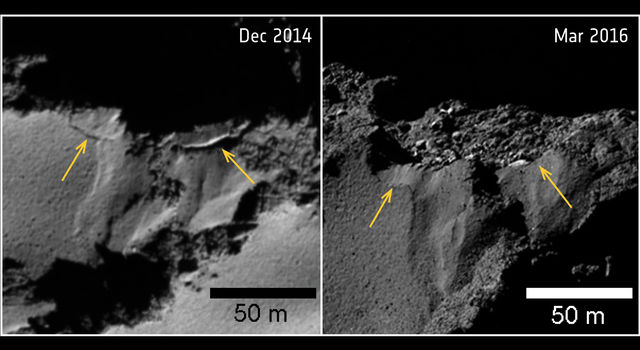 Several sites of cliff collapse on comet 67P/Churyumov-Gerasimenko