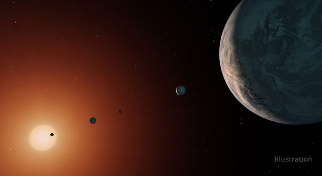 This illustration shows what the TRAPPIST-1 system.