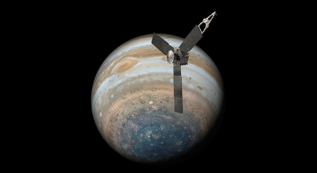 Juno Over Jupiter's South Pole (Illustration)
