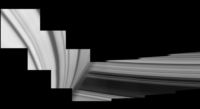 Saturn looms in the foreground of this mosaic of Cassini images.
