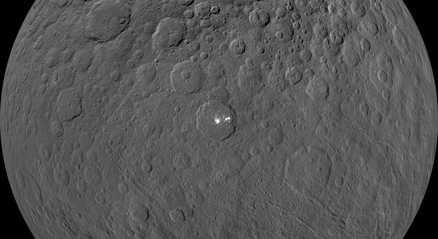 This orthographic projection, centered on Occator Crater, shows Ceres as seen by NASA's Dawn spacecraft from its low-altitude mapping orbit.