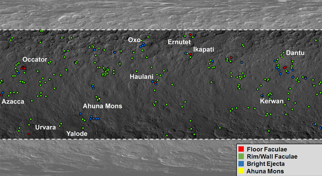 Map shows locations of bright material on dwarf planet Ceres