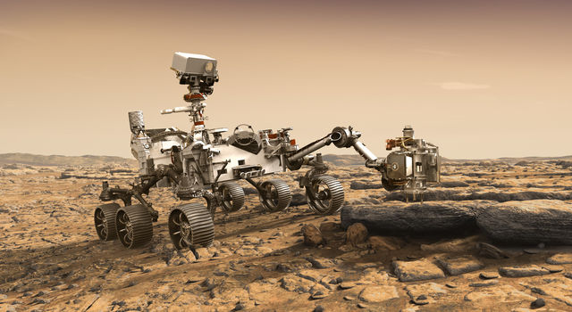 This artist's rendition depicts NASA's Mars 2020 rover studying a Mars rock outrcrop.