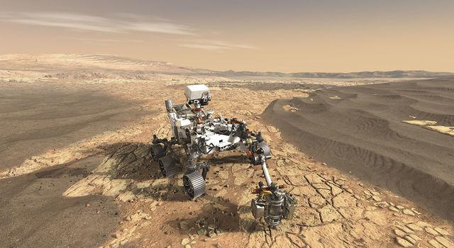 Artist's concept of NASA's Mars 2020 rover exploring Mars