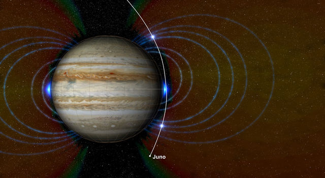 This graphic shows a new radiation zone Juno detected surrounding Jupiter