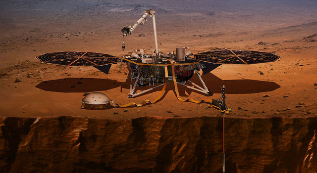 This artist's concept shows the InSight lander