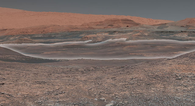 Mosaic taken by NASA's Mars Curiosity rover looks uphill at Mount Sharp