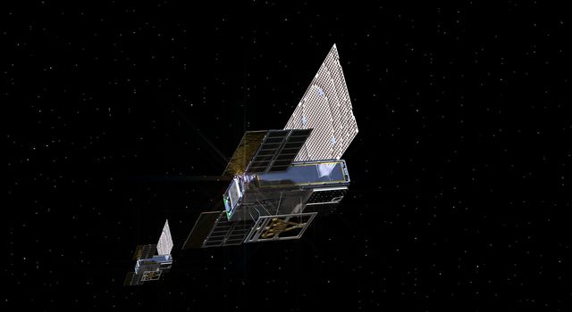 An artist's rendering of the twin Mars Cube One (MarCO) spacecraft