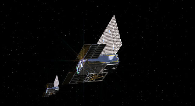 An artist's rendering of the twin Mars Cube One (MarCO) spacecraft.