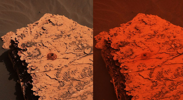 Two images from the Mast Camera (Mastcam) on NASA's Curiosity rover