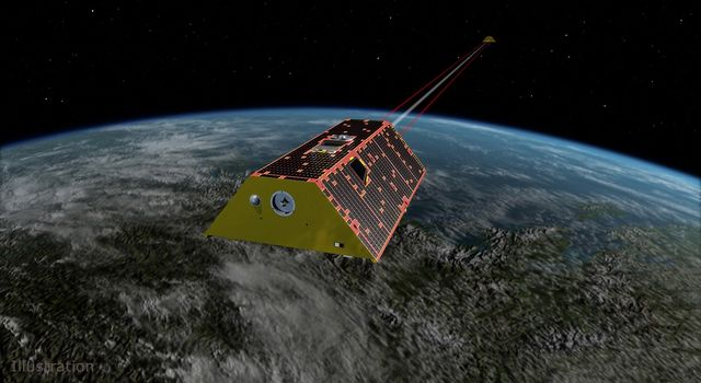 Artist's rendering of the twin spacecraft of the Gravity Recovery and Climate Experiment Follow-On (GRACE-FO) mission
