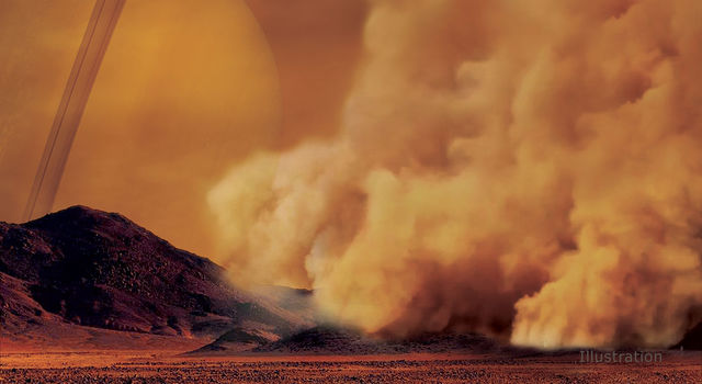 Artist's concept of a dust storm on Titan.