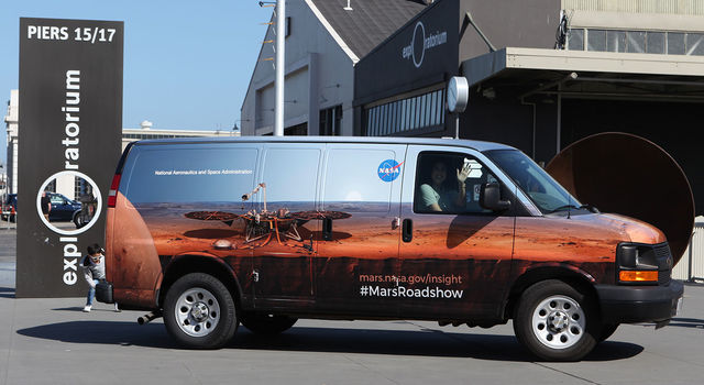The Mars InSight Roadshow van at San Francisco's Exploratorium