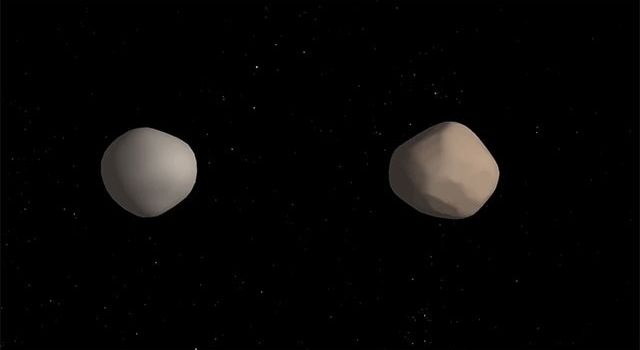 Artist concept of two asteroids
