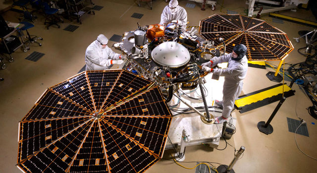 NASA's InSight Mars Lander in fully landed configuration in the clean room