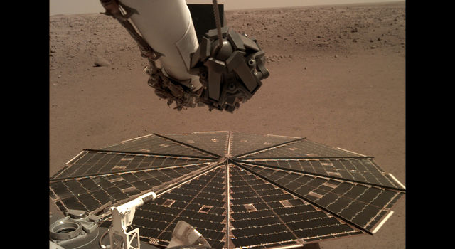 One of InSight's 7-foot (2.2 meter) wide solar panels
