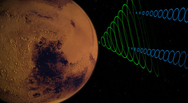 Image depicts the MarCO CubeSats relaying data