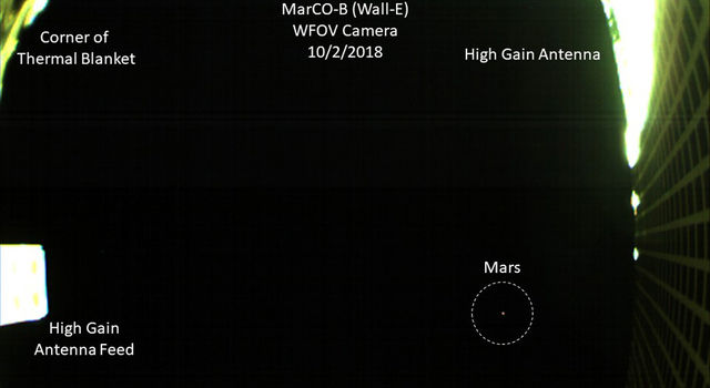 MarCo cubesat takes photo( of Mars as it approaches the red planet.(with annotations)
