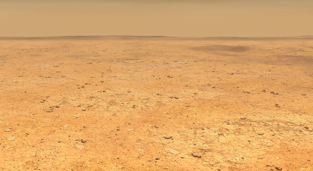 This artist's concept depicts the smooth, flat ground that dominates InSight's landing ellipse in the Elysium Planitia region of Mars
