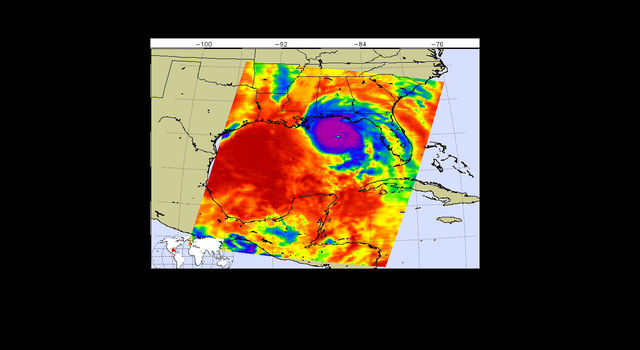 Temperature of clouds or the surface in and around Hurricane Michael
