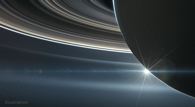 Illustration: NASA's Cassini spacecraft in orbit around Saturn