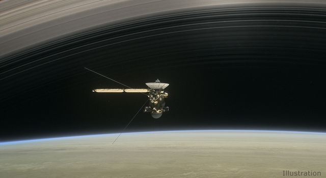 Illustration: NASA's Cassini spacecraft dives between Saturn and its innermost rings