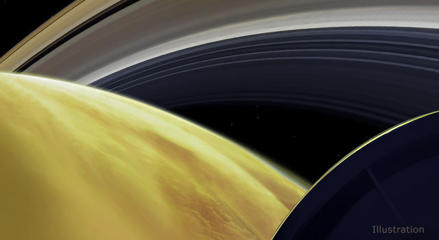 This illustration imagines the view from NASA's Cassini spacecraft during one of its final dives