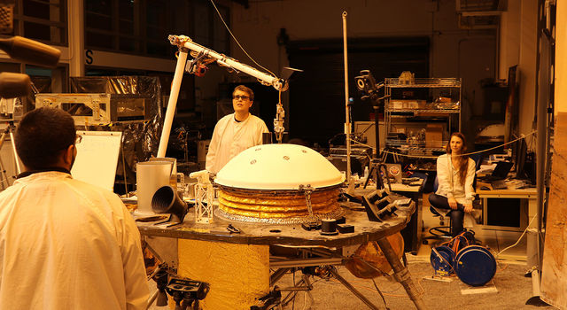NASA's InSight mission tests an engineering version of the spacecraft's robotic arm