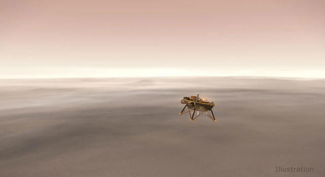 Illustration showing a simulated view of NASA's InSight lander firing retrorockets as it descends toward the surface of Mars