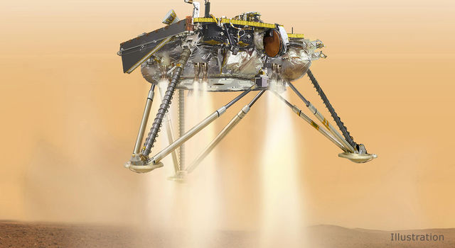 Illustration showing a simulated view of NASA's InSight lander
