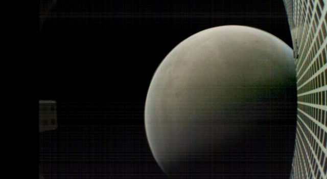 MarCO-B, one of the experimental Mars Cube One (MarCO) CubeSats, took this image of Mars