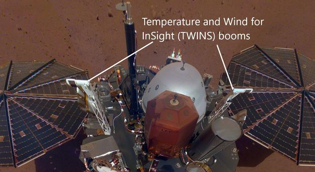 The white east- and west-facing booms - called Temperature and Wind for InSight