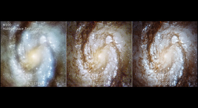 These three images show the central region of galaxy M100