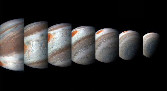 Series of color-enhanced images of Jupiter