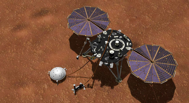 This artist's concept shows NASA's InSight lander with its instruments deployed on the Martian surface