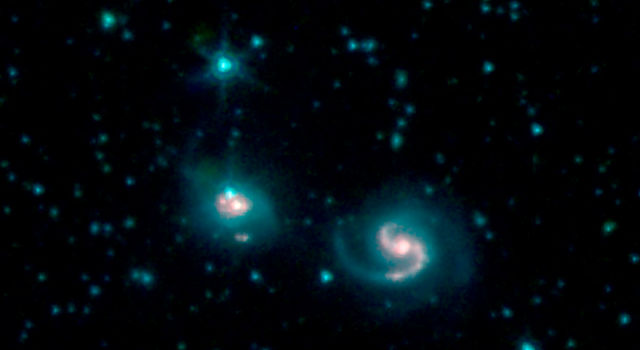 Merger of two galaxies, known as NGC 6786 (right) and UGC 11415 (left)
