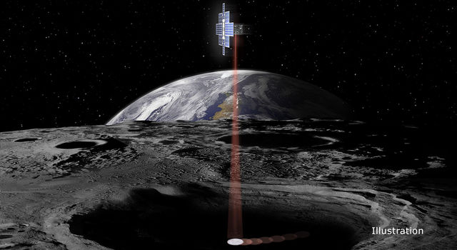 This artist's concept shows the briefcase-sized Lunar Flashlight spacecraft