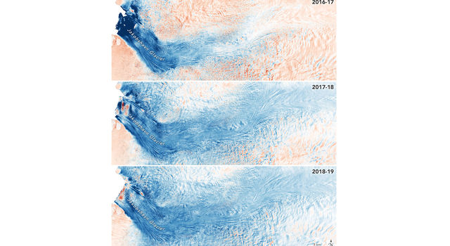 Three images showing the glacier's movement over 3 years.